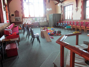 Church interior with chairs and play area