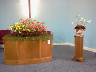 Displays on the altar and the font