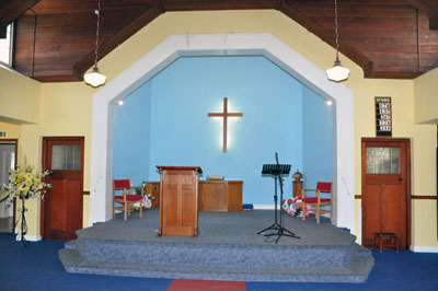 Inside the church at the front