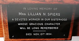 Plaque in memory of Lillian Spiers
