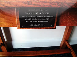 Plaque in memory of Lillian Spiers in situ