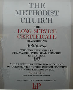 Long service certificate for Jack Yarrow