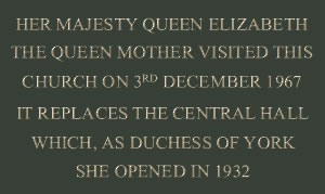 Plaque commemorating Queen Mother's visit, 1967
